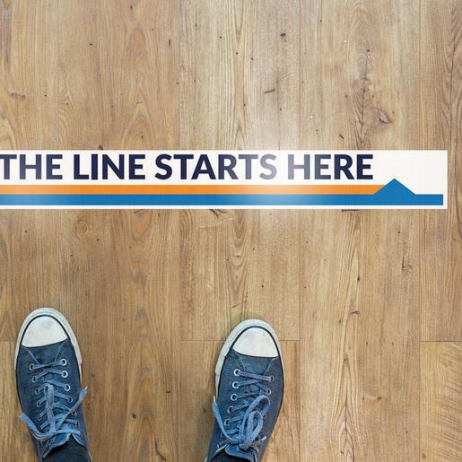 """Line Starts Here"" Social Distancing Directional Floor Decals, 10-pack"