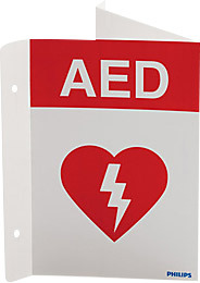 "Philips AED Wall Sign, Plastic-Silk Screened, 7"" x 10"""