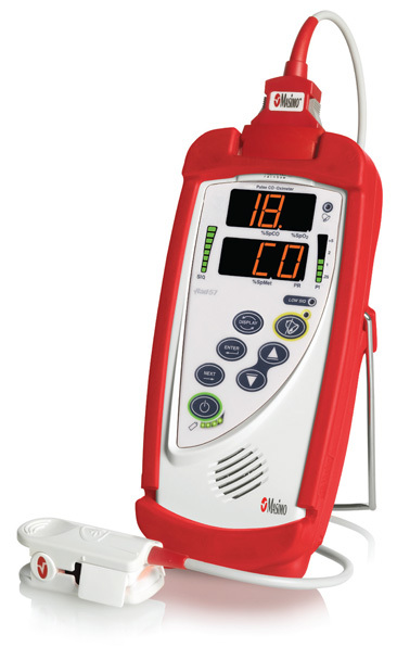 Masimo Rad-57<sup>™</sup> Handheld Oximeter with SpCO and SpO2, Adult Rainbow<sup>®</sup> Sensor, RC-01 Cable and Case