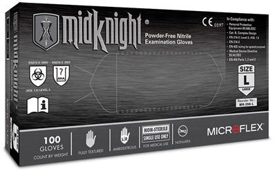 Microflex<sup>&reg;</sup> MidKnight Powder-free Nitrile Examination Gloves, Medium
