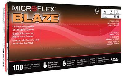 High Five<sup>®</sup> BLAZE<sup>®</sup> Nitrile Exam Gloves, Powder-free, High Visibility Orange