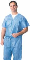 Blue Disposable Scrubs, V-Neck Shirt, X-Large