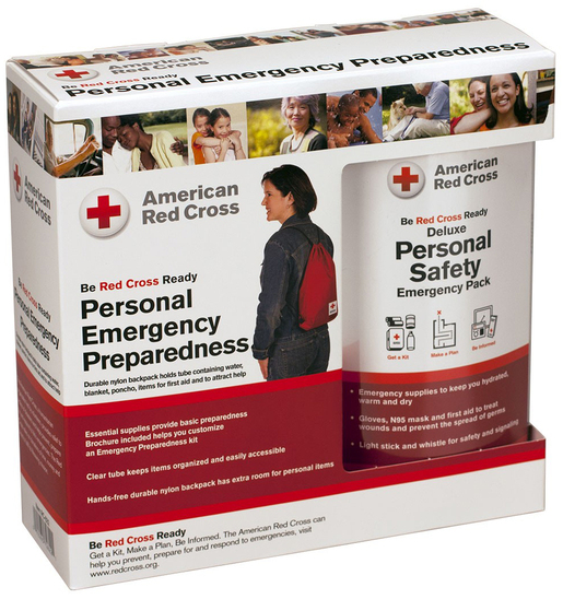 First Aid Only<sup>®</sup> Red Cross Personal Emergency Safety Pack with Backpack