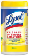 Lysol<sup>&reg;</sup> Sanitizing Disinfecting Wipes, Lemon Lime Blossom Scent, 35 Wipes/Tub