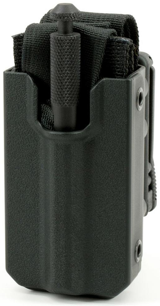 TacMed Eleven10 Rigid Tourniquet Case with Belt Attachment (Teklok), Slick Front, Black