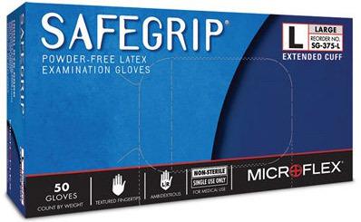 Microflex<sup>&reg;</sup> SafeGrip Powder-free Latex Examination Gloves, Large