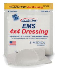 "Z-Medica<sup>®</sup> QuikClot<sup>®</sup> EMS Dressing with Hemostatic Agent, 4"" x 4"", 3/pk"