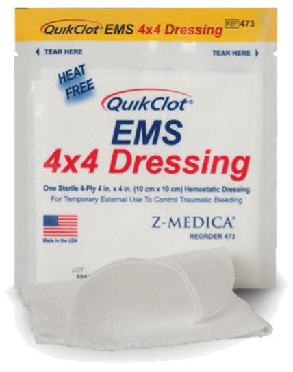 Z-Medica QuikClot<sup>&reg;</sup> EMS Dressing with Hemostatic Agent, 4&rdquo; x 4&rdquo;, 3/pk
